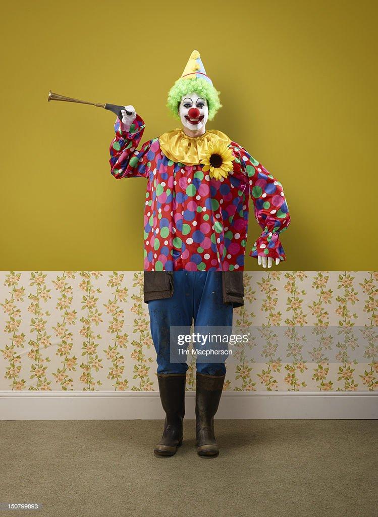 Clown top, farmer bottom