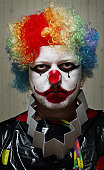 Clown with a serious facial expression