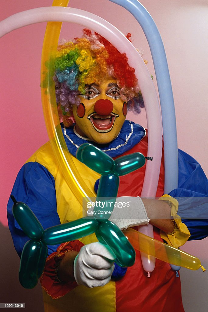 HOLCE019 Clown with balloons : Stock Photo