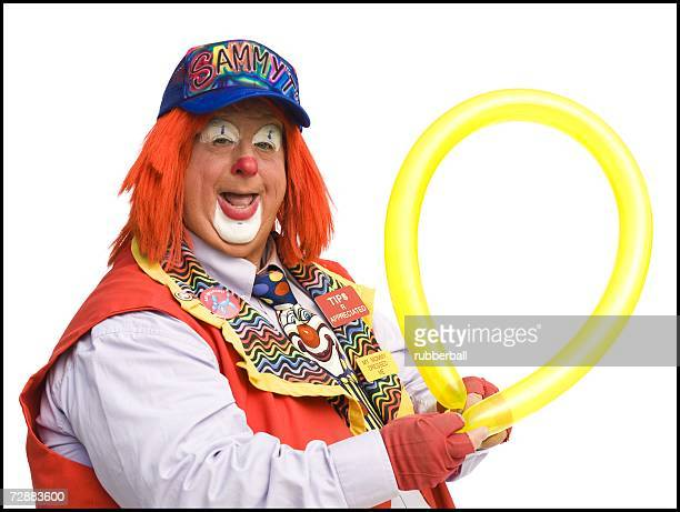Clown with yellow balloon