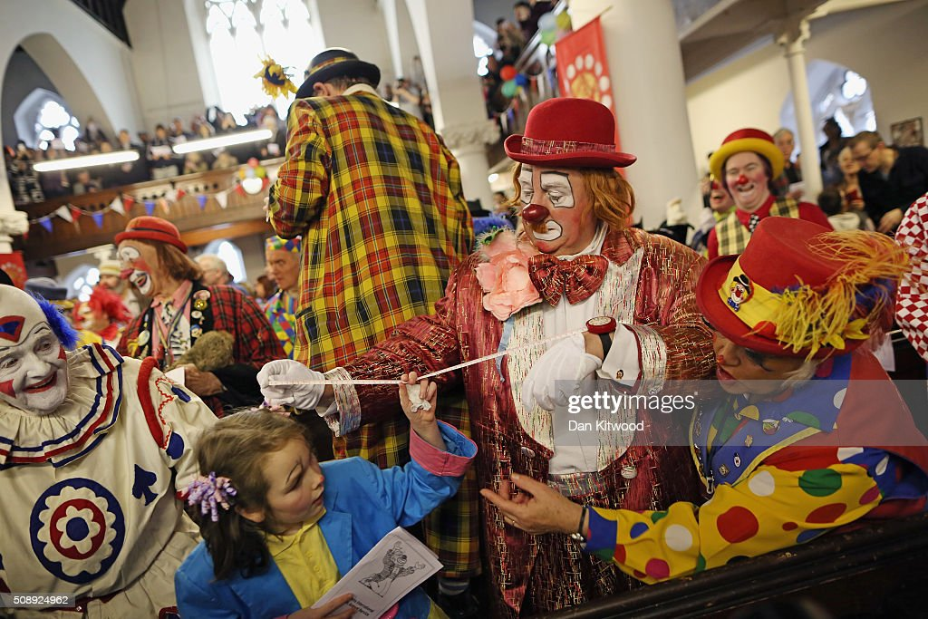 Clowns attend the 70th anniversary Clown Church Service at All Saints Church in Haggerston on February 7, 2016 in London, England. Clowns attended the service in memory of Joseph Grimaldi (1778-1837), the most celebrated English clown who was born in London. The service has been an annual tradition since 1946.