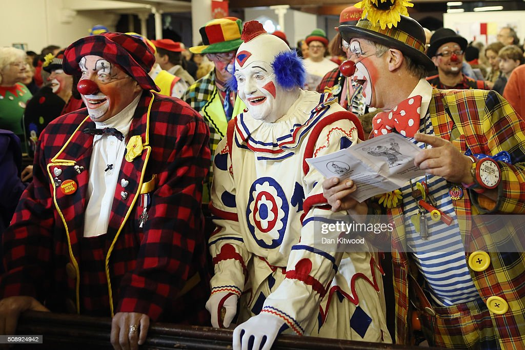 Clowns including English actor, musician, writer, and theatre director <a gi-track='captionPersonalityLinkClicked' href=/galleries/search?phrase=Simon+Callow&family=editorial&specificpeople=234849 ng-click='$event.stopPropagation()'>Simon Callow</a> CBE (who made a surprise appearance) attend the 70th anniversary Clown Church Service at All Saints Church in Haggerston on February 7, 2016 in London, England. Clowns attended the service in memory of Joseph Grimaldi (1778-1837), the most celebrated English clown who was born in London. The service has been an annual tradition since 1946.