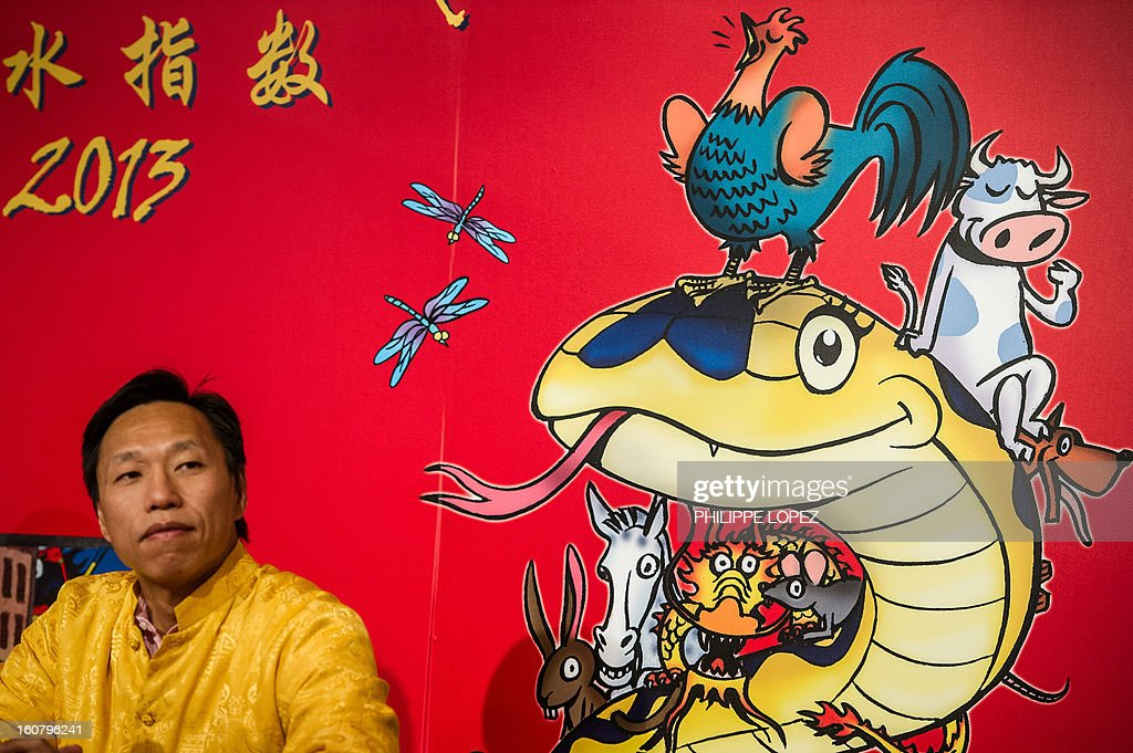 CLSAÕs research analysts Francis Cheung looks on during the unveiling of the CLSA Feng Shui Index 2013, an annual tongue-in-cheek prediction on financial markets and world affairs, at a press conference in Hong Kong on February 6, 2013. Astrologers say the snake that will be roaming this year is identified with the element of water -- which symbolises fear -- that sits on top of the fire element, which represents joy and optimism. AFP PHOTO / Philippe Lopez