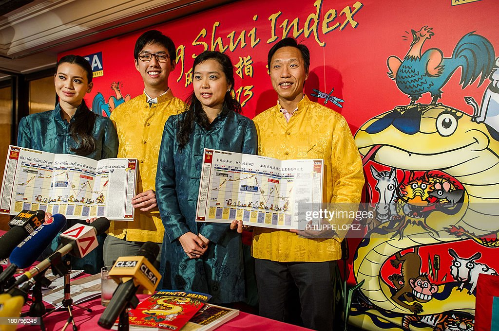 CLSAÕs research analysts Oliver Lam (2nd L) and Francis Cheung (R), along with research associate Mariana Kou (2nd R) and institutional salesperson Emily Lam (L) display the CLSA Feng Shui Index 2013, an annual tongue-in-cheek prediction on financial markets and world affairs, during a press conference in Hong Kong on February 6, 2013. Astrologers say the snake that will be roaming this year is identified with the element of water -- which symbolises fear -- that sits on top of the fire element, which represents joy and optimism. AFP PHOTO / Philippe Lopez