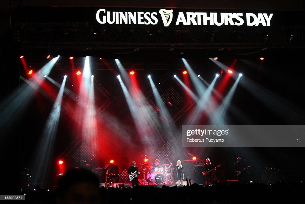 Club 8 of Sweden performs at the annual Guinness Arthur's Day at JIEXPO Kemayoran on October 26, 2013 in Jakarta, Indonesia. Arthur's Day sees fans come together to experience live music and cultural events all over the world in celebration of Arthur Guinness, the founder of Guinness brewing.