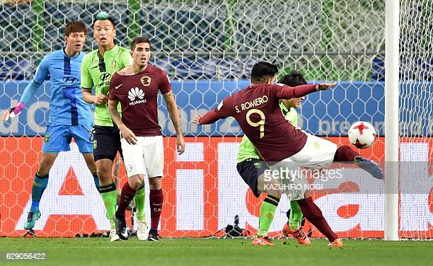 Club America forward Silvio Romero scores a goal during the Club World Cup football match between Jeonbuk Hyundai and Club America in Suita Osaka...