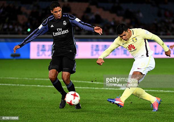 Club America's forward Silvio Romero shoots the ball during the Club World Cup semifinal football match between Club America of Mexico and Real...