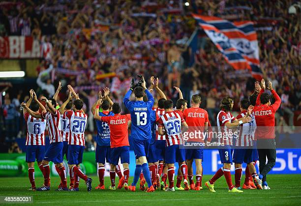 Club Atletico de Madrid applaud their fans during the UEFA Champions League Quarter Final second leg match between Club Atletico de Madrid and FC...