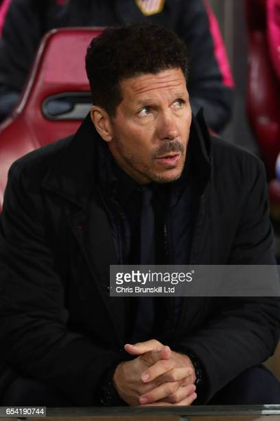 Club Atletico de Madrid coach Diego Simeone looks on during the UEFA Champions League Round of 16 second leg match between Club Atletico de Madrid...