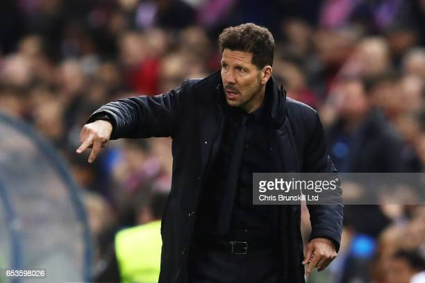 Club Atletico de Madrid Head Coach / Manager Diego Simeone gestures during the UEFA Champions League Round of 16 second leg match between Club...