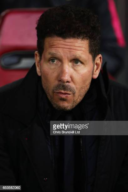 Club Atletico de Madrid Head Coach / Manager Diego Simeone looks on prior to the UEFA Champions League Round of 16 second leg match between Club...