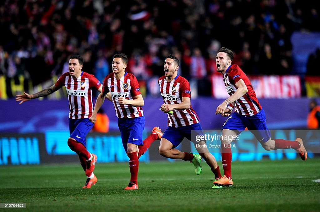 Club Atletico de Madrid players celebrate after they won an extra time ...