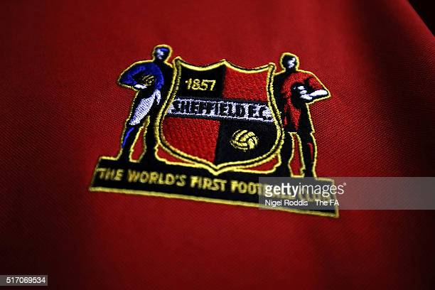 Club badge of Sheffield FC ahead of the FA WSL 2 match between Sheffield FC and Durham Ladies at the Home of Football Stadium on March 23 2016 in...
