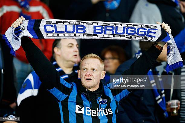 Club Brugge fan shows their support during the UEFA Europa League Round of 16 1st leg match between Club Brugge KV and Besiktas JK held at the Jan...
