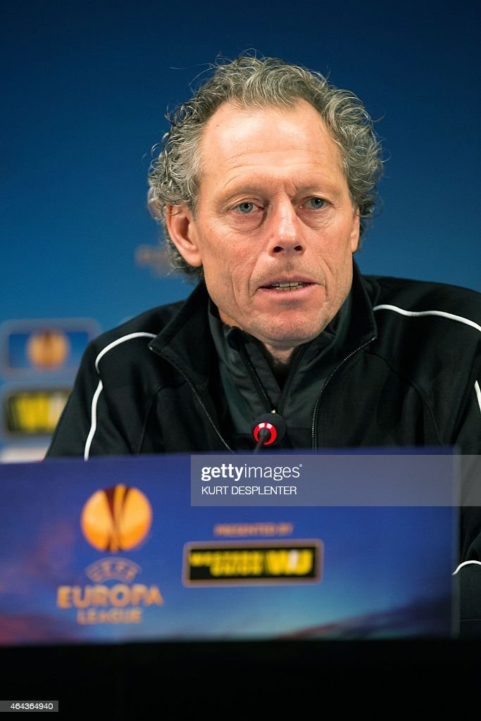 Club Brugge KV's head coach <a gi-track='captionPersonalityLinkClicked' href=/galleries/search?phrase=Michel+Preud%27homme&family=editorial&specificpeople=2514028 ng-click='$event.stopPropagation()'>Michel Preud'homme</a> speaks during a press conference of Belgian first division soccer team Club Brugge KV in Brugge, on February 25, 2015. Club will face Aalborg BK in the return leg of the round of 32 of the Europa League tournament. Club Brugge won first leg 1-3 in Aalborg last week.