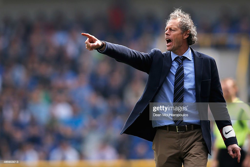 Club Brugge Manager, <a gi-track='captionPersonalityLinkClicked' href=/galleries/search?phrase=Michel+Preud%27homme&family=editorial&specificpeople=2514028 ng-click='$event.stopPropagation()'>Michel Preud'homme</a> shouts instructions to his team during the Jupiler League match between Club Brugge and Royal Standard de Liege at the Jan Breydel Stadium on April 21, 2014 in Brugge, Belgium.