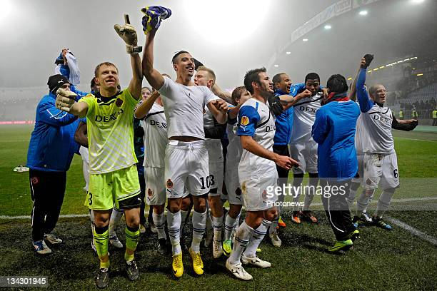 Club Brugge players celebrate their win during the Europa League match between NK Maribor and Club Brugge on November 30 2011 in Maribor Slovenia