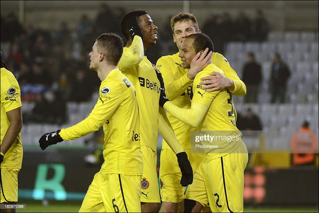 Club Brugge players celebrate victory during the Jupiler League match between Cercle Brugge and Club Brugge on February 28, 2013 in Brugge, Belgium.