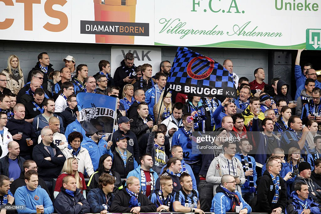 Club Brugge supporters during the Jupiler League match between KSC Lokeren OV and Club Brugge at the Daknamstadion on April 26, 2014 in Lokeren,Belgium.