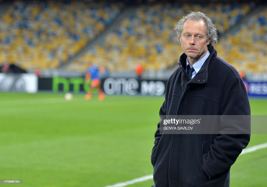 Club Brugge's Belgian head coach <a gi-track='captionPersonalityLinkClicked' href=/galleries/search?phrase=Michel+Preud%27homme&family=editorial&specificpeople=2514028 ng-click='$event.stopPropagation()'>Michel Preud'homme</a> reacts during the UEFA Europa League second leg quarter-final football match between FC Dnipro Dnipropetrovsk and Club Brugge KV in Kiev on April 23, 2015.