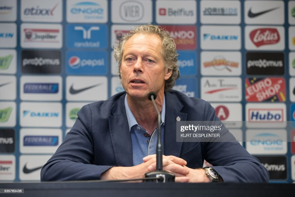 Club Brugge's Belgian head coach Michel Preud'homme speaks during a press conference of Belgian first division soccer team Club Brugge KV on May 30, 2016 in Brugge. Club Brugge's head coach Michel Preud'homme announced he will renew his contract. / AFP / BELGA / KURT DESPLENTER / Belgium OUT