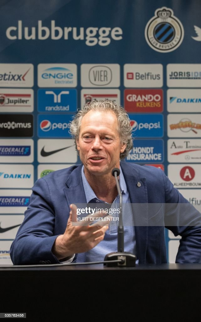 Club Brugge's Belgian head coach Michel Preud'homme speaks during a press conference of Belgian first division soccer team Club Brugge KV on May 30, 2016 in Bruges. Club Brugge's head coach Michel Preud'homme announced he will renew his contract. / AFP / BELGA / KURT DESPLENTER / Belgium OUT