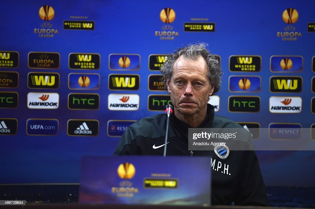 Club Brugge's coach <a gi-track='captionPersonalityLinkClicked' href=/galleries/search?phrase=Michel+Preud%27homme&family=editorial&specificpeople=2514028 ng-click='$event.stopPropagation()'>Michel Preud'homme</a> speaks during a press conference at Ataturk Olympic Stadium in Istanbul, Turkey on March 18, 2015. Besiktas will face Club Brugge in the Europa League round of 16 return match on March 19, 2015.
