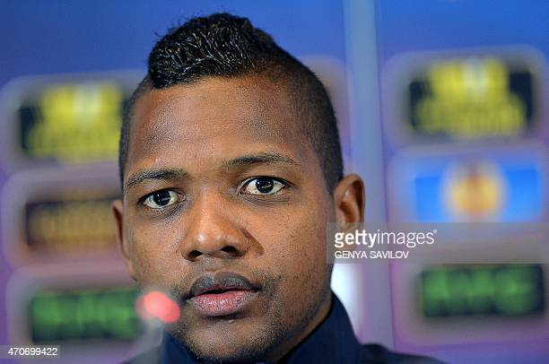 Club Brugge's Colombian forward Jose Izquierdo delivers a press conference in Kiev on April 22 on the eve of the UEFA Europa League second leg...