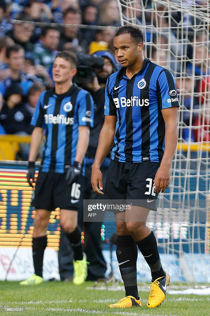 Club Brugge's Ghanaian born player Vadis Odjidja Ofoe looks dejected during the Jupiler Pro League match between Club Brugge KV and KRC Genk, in Brugge on October 27, 2013, on day 12 of the Belgian football championship.