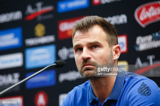 Club Brugge's head coach Ivan Leko looks on during a press conference on August 16 in Brugge on the eve of Brugge's game first leg of the first...