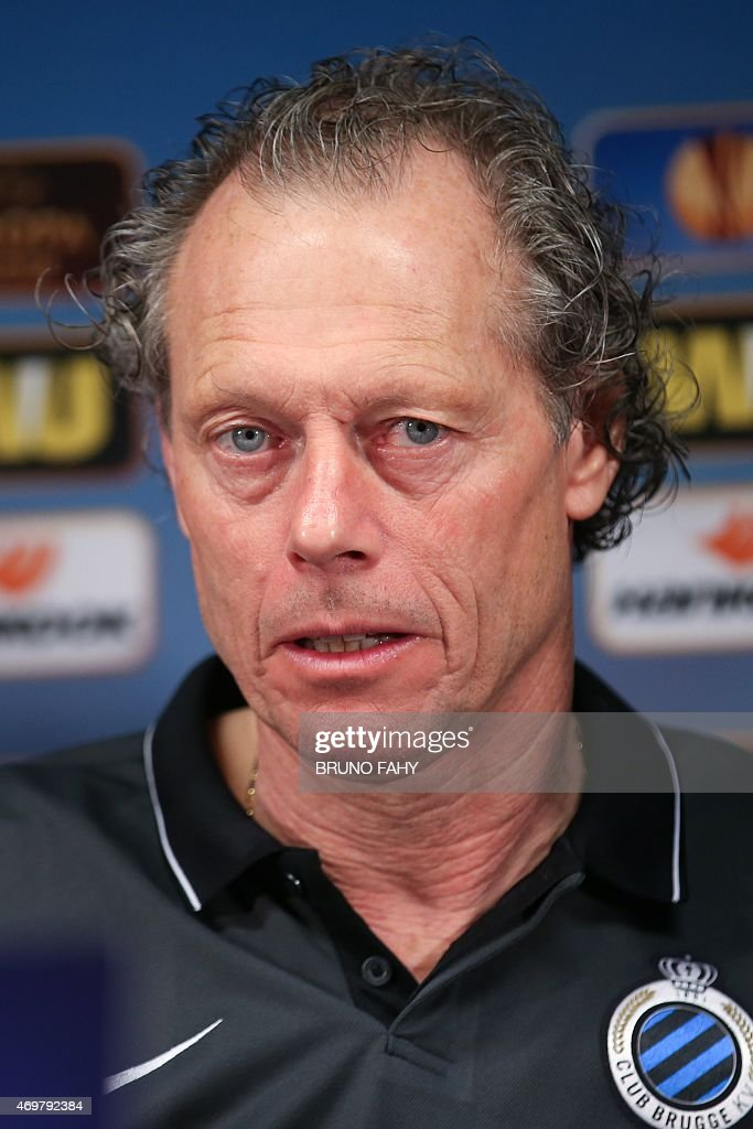 Club Brugge's head coach <a gi-track='captionPersonalityLinkClicked' href=/galleries/search?phrase=Michel+Preud%27homme&family=editorial&specificpeople=2514028 ng-click='$event.stopPropagation()'>Michel Preud'homme</a> gives a press conference on April 15, 2015 in Brugges on the eve of the Europa League first leg quarter final football match against Dnipro.