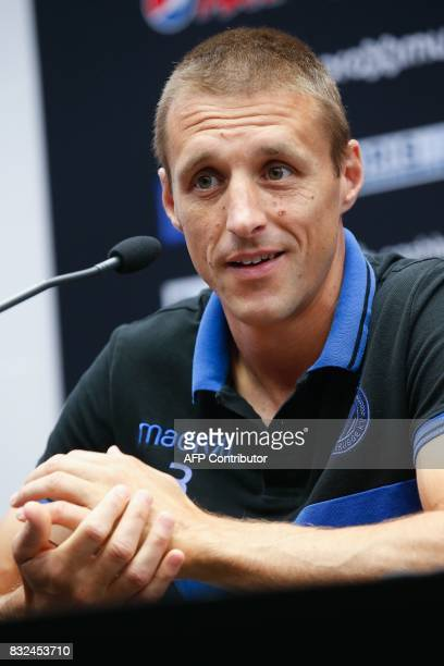 Club Brugge's midfielder Timmy Simons looks on during a press conference on August 16 in Brugge on the eve of Brugge's game first leg of the first...