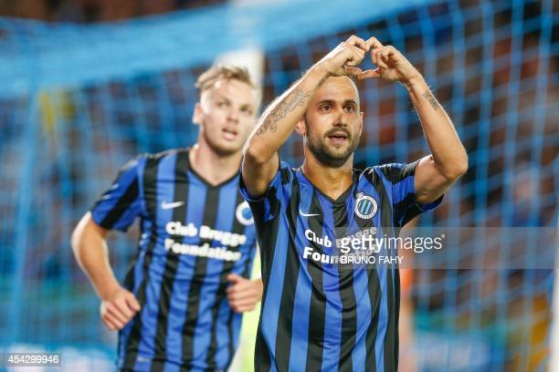 Club Brugge's Spanish midfielder Victor Vazquez Solsona celebrates after scoring during the return leg match of the playoffs for the UEFA Europa...