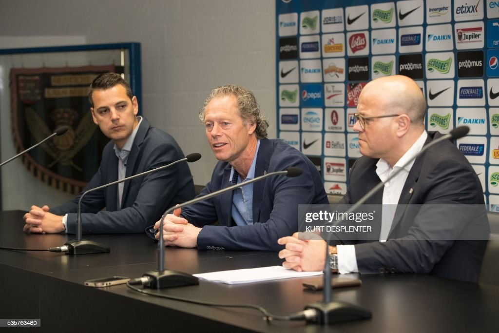 Club Brugge's spokesman Kirsten Willem, head coach Michel Preud'homme and chairman Bart Verhaeghe speak during a press conference of Belgian first division soccer team Club Brugge KV on May 30, 2016 in Bruges. Club Brugge's head coach Michel Preud'homme announced he will renew his contract. / AFP / BELGA / KURT DESPLENTER / Belgium OUT