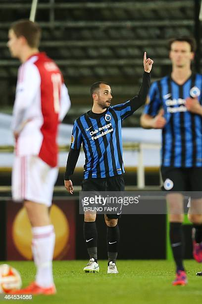 Club Brugge's Victor Vazquez Solsona celebrates after he scored the 10 goal during a football match between Belgian team Club Brugge KV and Danish...