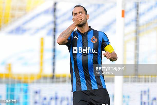 Club Brugge's Victor Vazquez Solsona celebrates after scoring a goal during the friendly football match between Club Brugge and Spanish team Getafe...