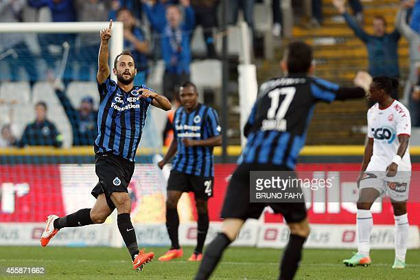 Club Brugge's Victor Vazquez Solsona celebrates after scoring during the Jupiler Pro League match between Club Brugge and Kortrijk in Brugge on...