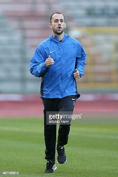 Club Brugge's Victor Vazquez Solsona runs on March 21 2015 during a training session at the Roi Baudouin stadium in Brussels on the eve of their...