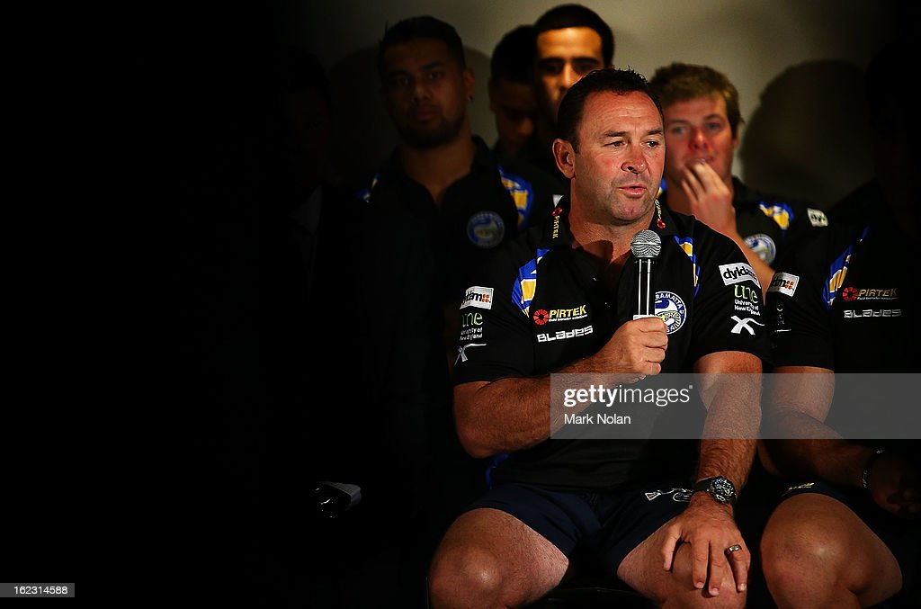Club coach <a gi-track='captionPersonalityLinkClicked' href=/galleries/search?phrase=Ricky+Stuart&family=editorial&specificpeople=208798 ng-click='$event.stopPropagation()'>Ricky Stuart</a> speaks to the media at the Parramatta Eels NRL captaincy announcement at Parramatta Stadium on February 22, 2013 in Sydney, Australia.