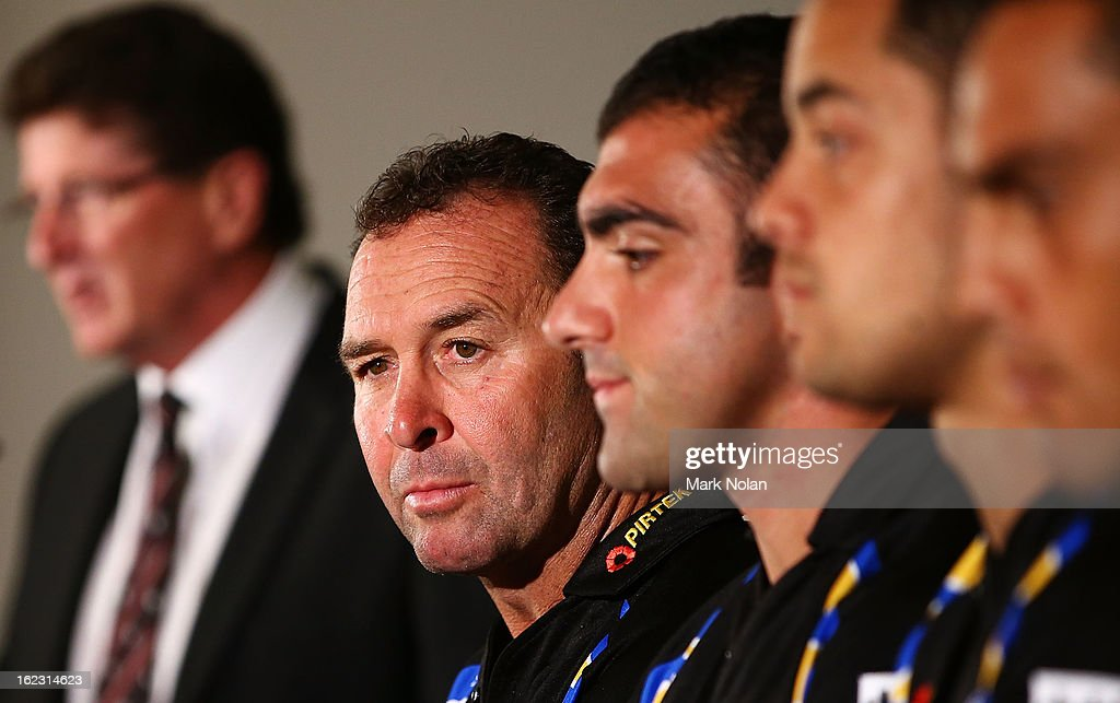 Club coach <a gi-track='captionPersonalityLinkClicked' href=/galleries/search?phrase=Ricky+Stuart&family=editorial&specificpeople=208798 ng-click='$event.stopPropagation()'>Ricky Stuart</a> watches on during the Parramatta Eels NRL captaincy announcement at Parramatta Stadium on February 22, 2013 in Sydney, Australia.
