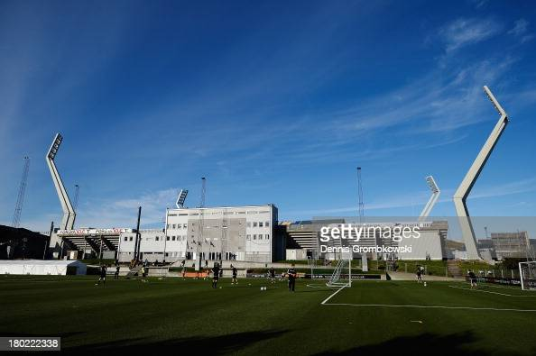 Club football players practice in front of the stadium prior to the FIFA 2014 World Cup Qualifier match between Faeroe Islands and Germany on...