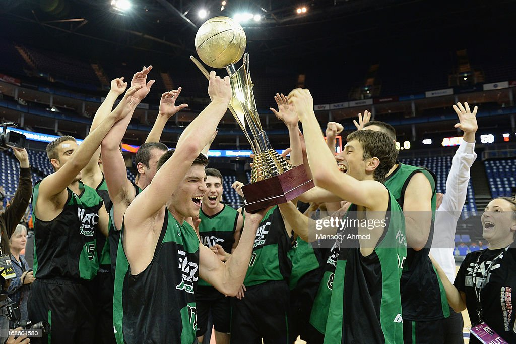 Club Joventut Badalona celebrate winning the the Nike International Junior Tournament Final at O2 Arena on May 12, 2013 in London, United Kingdom.