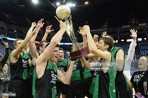 Club Joventut Badalona celebrate winning the the Nike International Junior Tournament Final at O2 Arena on May 12 2013 in London United Kingdom