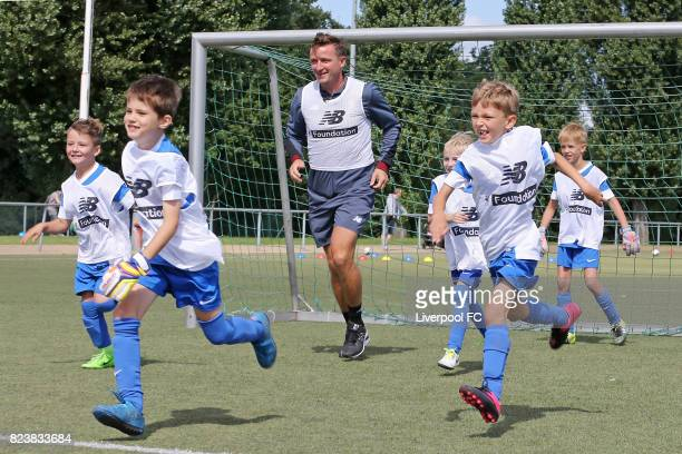 Club legend Vladimir Smicer of Liverpool FC attends the Hertha BSC soccer camp at Olympiastadion on July 28 2017 in Berlin Germany
