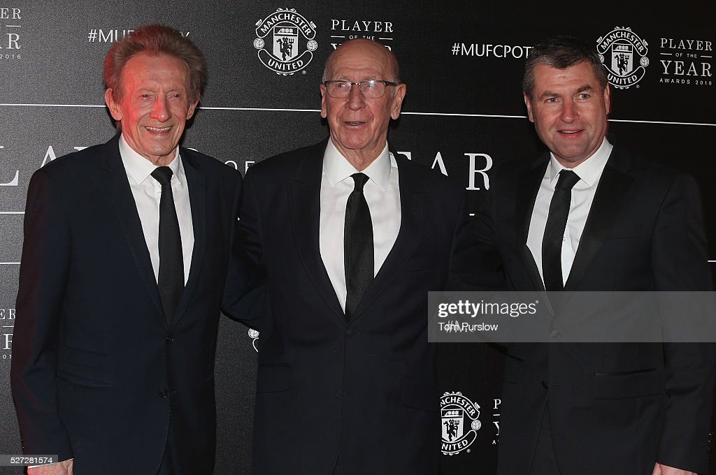 Club legends Denis Law, Sir Bobby Charlton and Denis Irwin of Manchester United arrive at the club's annual Player of the Year awards at Old Trafford on May 2, 2016 in Manchester, England.