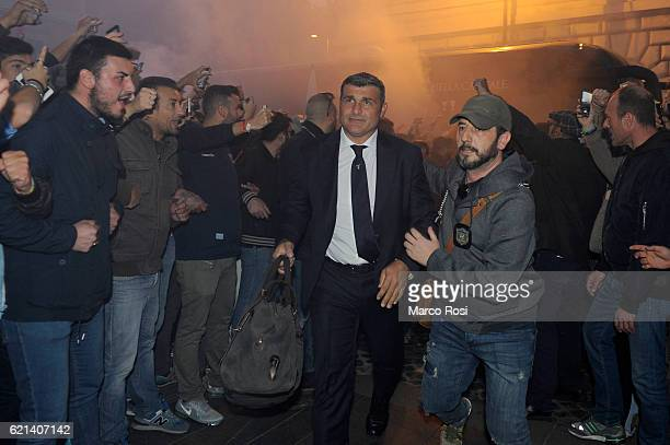 Club manager Angelo Peruzzi welcomed by fans of SS Lazio before departure by train to Naples ahead of the Serie A match between Napoli and Lazio at...