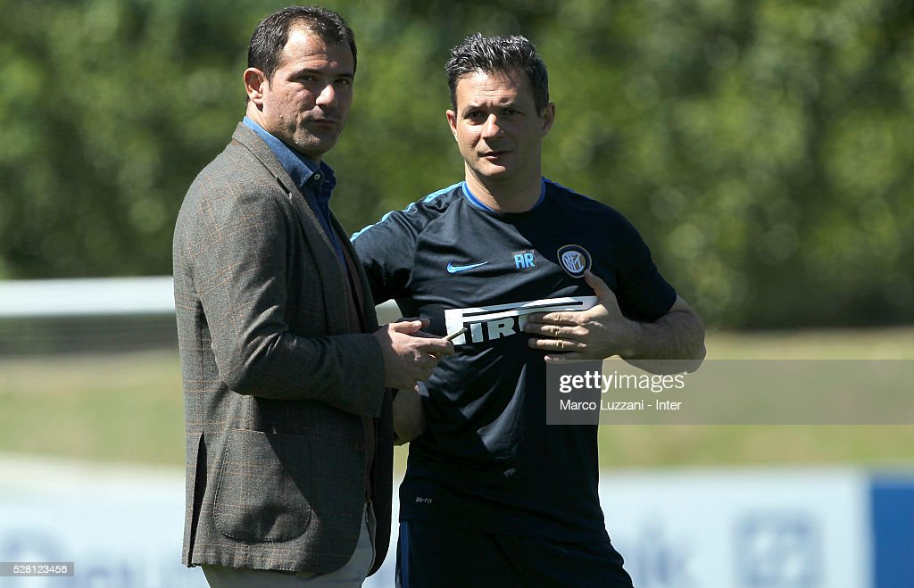 Club Manager <a gi-track='captionPersonalityLinkClicked' href=/galleries/search?phrase=Dejan+Stankovic&family=editorial&specificpeople=242949 ng-click='$event.stopPropagation()'>Dejan Stankovic</a> and FC Internazionale Milano Team Manager Andrea Romeo look on during the FC Internazionale training session at the club's training ground 'La Pinetina' on May 4, 2016 in Como, Italy.
