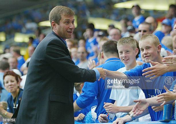 Club owner Roman Abramovich of Chelsea meets the fans during the FA Barclaycard Premiership match between Chelsea and Leicester City at Stamford...
