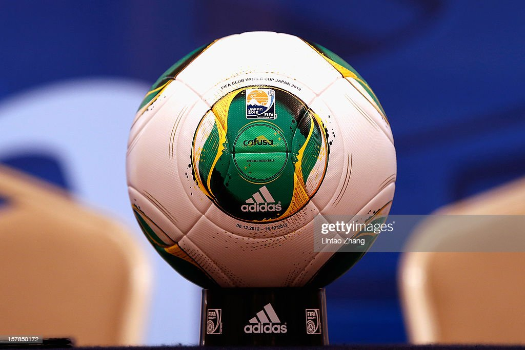 Club World Cup official ball is on display during a CF Monterrey press conference at Nagoya Mariott Associa Hotel on December 7, 2012 in Nagoya, Japan.