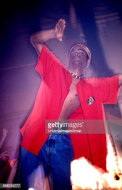 A clubber on the podium of the main dancefloor of the hacienda